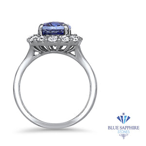 4.45ct. Oval Blue Sapphire GIA Certified Ring with Diamond Halo in 18K White Gold
