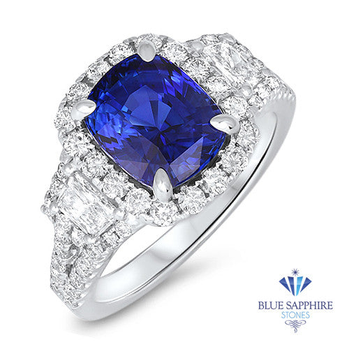 4.46ct. Cushion Blue Sapphire Ring with Diamond Halo in 18K White Gold