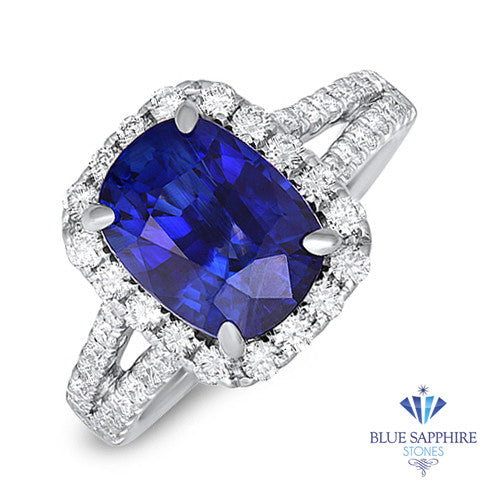 4.63ct. Cushion Blue Sapphire Ring with Diamond Halo in 18K White Gold