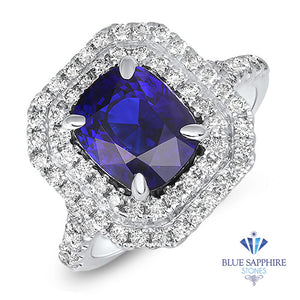 3.31ct. Cushion Blue Sapphire Ring with Diamond Halo in 18K White Gold