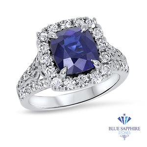 3.26ct. Cushion GIA Certified Blue Sapphire Ring with Diamond Halo in 18K White Gold