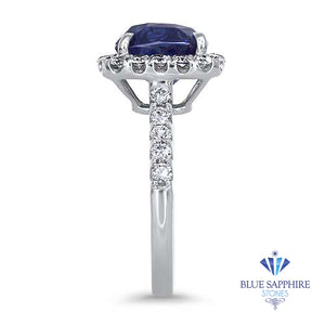 4.41ct. Cushion Blue Sapphire Ring with Diamond Halo in 18K White Gold