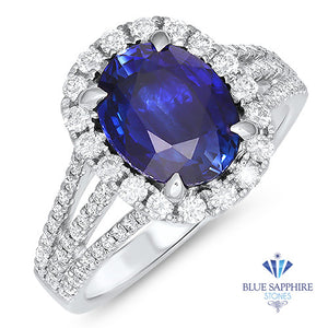 3.59ct. Oval Blue Sapphire Ring with Diamond Halo in 18K White Gold