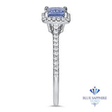 0.54ct. Radiant Blue Sapphire Ring with Diamond Halo in 18K White Gold