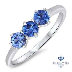 0.58ctw Round Blue Sapphire Ring in 14K White Gold