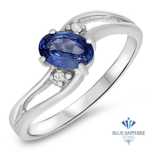 0.59ct Oval Blue Sapphire Ring with Diamond Accents in 14K White Gold