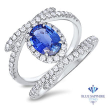 1.33ct Oval Blue Sapphire Ring with Diamond Halo in 18K White Gold