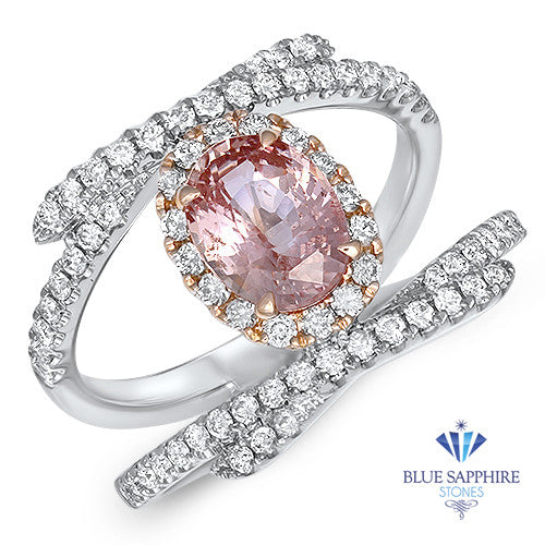 1.62ct Oval Padparadscha Ring with Diamond Halo in 18K White and Rose Gold