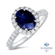 2.10ct Oval Blue Sapphire Ring with Diamond Halo in 18K White Gold
