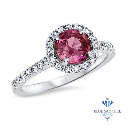 1.03ct Round Pink Sapphire Ring with Diamond Halo in 18K White Gold