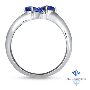 1.11ctw Pear Blue Sapphire Snakehead Ring in 14K White Gold