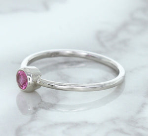 0.19ct Round Pink Sapphire Ring in 14K White Gold