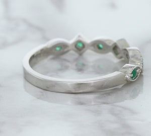 0.21ctw Emerald Alternating Marquise Ring in 14K White Gold