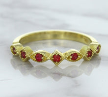 0.20ctw Ruby Alternating Marquise Ring in 14K Yellow Gold