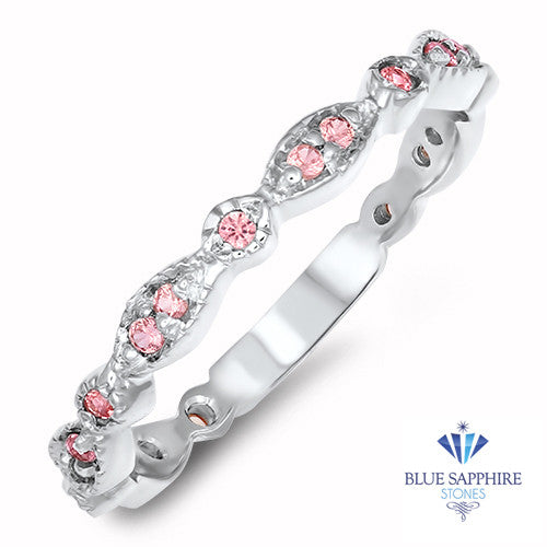 0.29ctw Padparadscha Alternating Marquise Ring in 14K White Gold