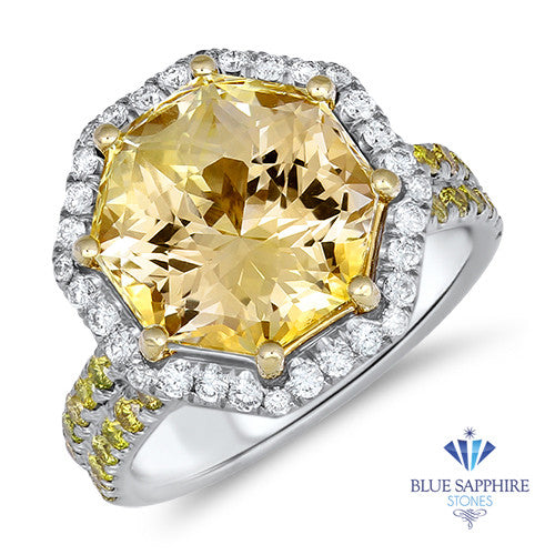 8.03ct Octagonal Unheated Yellow Sapphire Ring with Diamond Halo in 18K White Gold