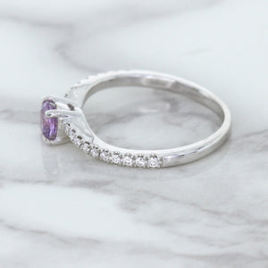 0.45ct Round Lavender Sapphire Ring with Diamonds in 18K White Gold