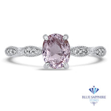 1.14ct Oval Pink Sapphire Ring with Diamond Accents in 18K White Gold