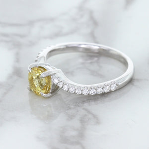 1.49ct Round Yellow Sapphire Ring with Diamond Accents in 18K White Gold