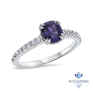 1.12ct Cushion Purple Sapphire Ring with Diamonds in 18K White Gold