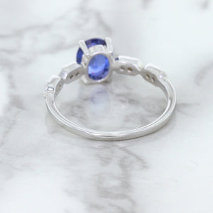 1.13ct Oval Blue Sapphire Ring with Diamonds in 18K White Gold