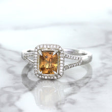 1.14ct Cushion Unheated Peach Sapphire with Diamond Halo in 18K White Gold