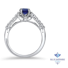 0.63ct Round Blue Sapphire Ring with Diamond Accents in 18K White Gold