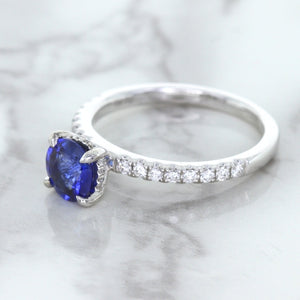 1.12ct Round Blue Sapphire Ring with Diamond Accents in 18K White Gold