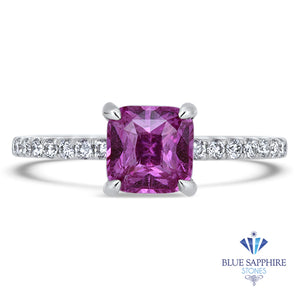 1.56ct Cushion Pink Sapphire Ring with Diamond Accents in 18K White Gold