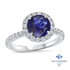 1.62ct Round Blue Sapphire Ring with Diamond Halo in 18K White Gold