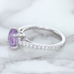 2.01ct Oval Unheated EGL Certified Purple Sapphire Ring with Diamonds in 18K White Gold