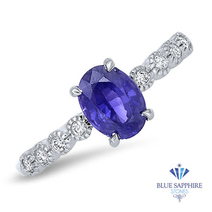 1.10ct Oval Purple Sapphire Ring with Diamonds in 18K White Gold