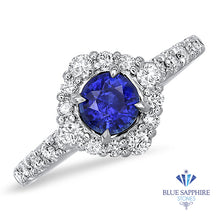 0.68ct. Round Blue Sapphire Ring with Diamond Halo in 18K White Gold