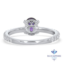 0.85ct Oval Purple Sapphire Ring with Diamonds in 18K White Gold