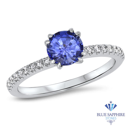 0.95ct Round Blue Sapphire Ring with Diamond Accents in 18K White Gold