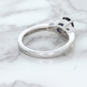 1.07ct Round Blue Sapphire Ring with Diamond Accents in 18K White Gold