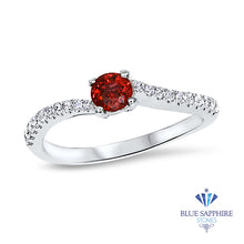 0.37ct Round Red Spinel Ring with Diamond Accents in 18K White Gold