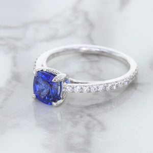 1.43ct Cushion Unheated Blue Sapphire Ring with Diamond Accents in 18K White Gold