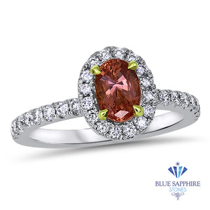 1.02ct Oval GIA Certified Padparadscha Ring with Diamond Halo in 18K White Gold