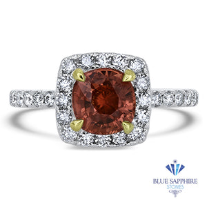 1.94ct Cushion Unheated GIA Certified Padparadscha Ring with Diamond Halo in 18K White Gold