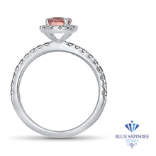 0.85ct Oval Peach Sapphire with Diamond Halo in 18K White Gold