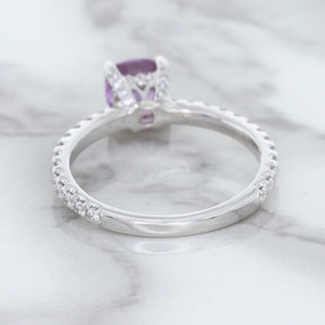 1.36ct Cushion Unheated Lavender Sapphire Ring with Diamonds in 18K White Gold
