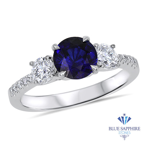 1.18ct Round Blue Sapphire Ring with Diamond Accents in 18K White Gold