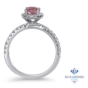 1.24ct Oval EGL Certified Padparadscha Ring with Diamond Halo in 18K White Gold