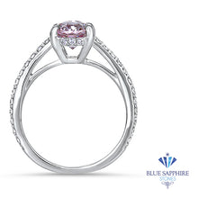 2.08ct Oval EGL Certified Peach Sapphire with Diamond Halo in 18K White Gold
