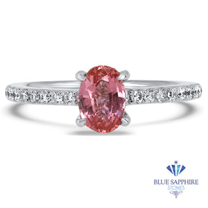 0.86ct Oval GIA Certified Pink Sapphire Ring with Diamond Accents in 18K White Gold