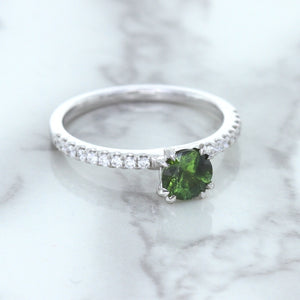 0.89ct Round Green Sapphire Ring with Diamond Accents in 18K White Gold