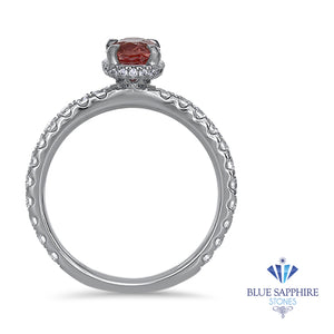 1.10ct Oval GIA Certified Padparadscha Ring with Hidden Diamond Halo in 18K White Gold