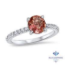 1.28ct Round EGL Certified Padparadscha Ring with Diamond Accents in 18K White Gold