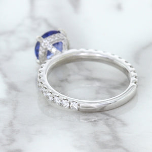 1.75ct. EGL Certified Round Blue Sapphire Ring with Hidden Diamond Halo in 18K White Gold